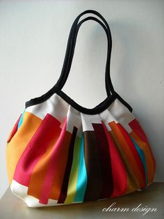 Rainbow Granny Bag Black Twill Trim by charmdesign on Etsy, $50.00