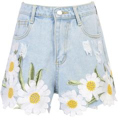 Light Blue Daisy Embroidery Ribbed Detail Denim Shorts ($29) ❤ liked on Polyvore featuring shorts, jean shorts, daisy print shorts, zipper shorts, denim short shorts and embroidered shorts