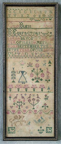 c.1735 Silkwork Sampler by Sarah Bryon For Sale | Antiques.com | Classifieds