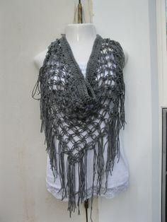 CROCHET SCARF, SLATE, Crochet beach cover up, Gray sarong, scarf, gypsy, festival clothing, hippie, bohemian boho