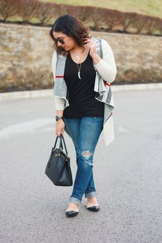 Plaid cardigan, ripped jeans, Prada bag