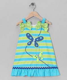 Take a look at this Green & Blue Stripe Butterfly Dress - Infant, Toddler & Girls by Youngland on #zulily today!