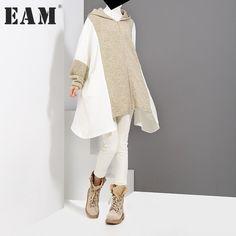 [EAM]2017 new autumn winter hooded long sleeve split joint black gray loose solid color irregular dress women fashion tide JD263