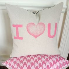 I Heart You Pillow Cover by MySwallowsNest on Etsy #chevron #pink #wedding #love #gift