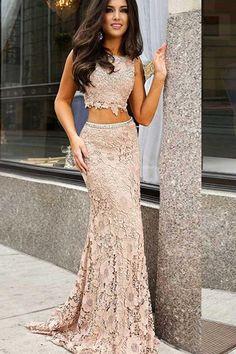 1a8fb819 Hot Sale Comfortable A-Line Prom Dress, Two Pieces Prom Dress, Open Back  Prom Dress, Prom Dress Lace