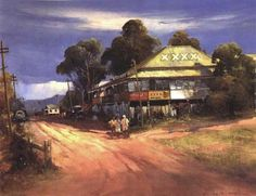 The Wallaby Hotel - d'Arcy Doyle Australian Painting, Australian Artists, Arts Award, Local Artists, Art And Architecture, Love Art, Impressionist, Landscape Paintings, Beautiful Pictures