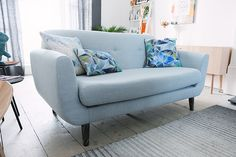 Love the contrast between calming #pastel blue and striking #bold #cushions