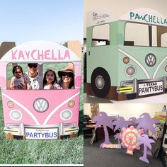 Nothing like having a fun Party Bus at your Coachella Themed party. Great for any age party. Coachella Party Decorations, Coachella Party Theme, Coachella Birthday, Festival Themed Party, Coachella Dress, Baby 1st Birthday, 1st Birthday Parties, Cochella Theme Party, Party Bus