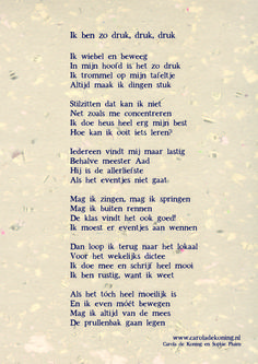 Een gedicht voor alle hyperactieve kinderen! Poetry Journal, Poetry For Kids, Teaching Quotes, Close Reading, Quotes For Kids, Wall Quotes, Wise Words, Things To Think About, Coaching