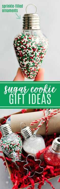 Sugar Cookie Christmas Kit Ideas! Fill small ornaments with sprinkles, gift with mini ornaments, and sugar cookie dough! I chelseasmessyapron.com