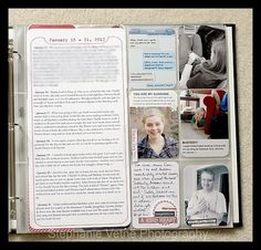 Love the idea of typing up a daily paragraph for the week and putting it in a 6x12 protector sheet between the two layout pages - then the rest of the week's layout can be more pictures and decorative papers.