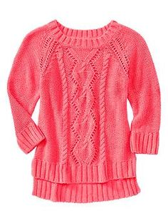 I love this cable knit sweater in neon flamingo form GapKids. It is super cute and good for fall and summer.