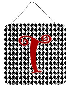Letter T Initial Monogram - Houndstooth Black Wall or Door Hanging Prints