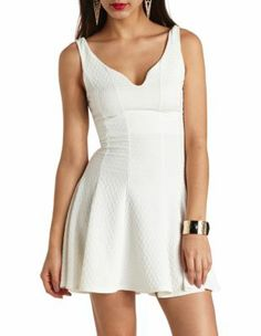 textured & paneled skater dress