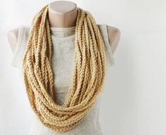 Chain infinity scarf camel earth yellow crochet necklace fall fashion Winter accessories on Wanelo