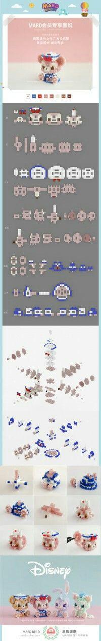 3d Perler Bead, Hama Beads Design, Diy Perler Beads, Hama Beads Patterns, Pearler Beads, Fuse Beads, Beading Patterns, Iron Beads, Plush Pattern