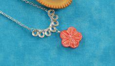 Flower necklace sea shell pendant bib by MontanaAnniesJewelry