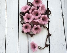 Flower Scarf Forget Me Not Flowers Lariat Necklace by ReddApple