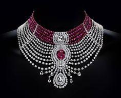 """""""Reine Makéda"""", colar de platina, rubis e diamantes, Cartier"""
