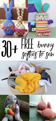 Check out over 30 free bunny softie sewing patterns. These are rabbit sewing tutorials and rabbit sewing patterns, all easy to make and perfect for handmade Easter basket ideas. Animal Sewing Patterns, Stuffed Animal Patterns, Sewing Patterns Free, Free Sewing, Pattern Sewing, Stuffed Animals, Softie Pattern, Free Pattern, Sewing Toys