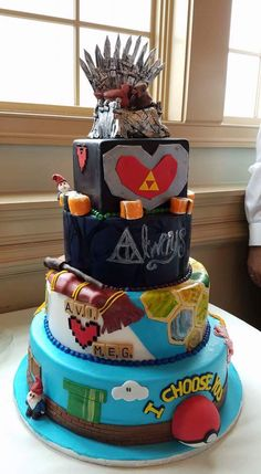 Our Adorkable Wedding Cake http://ift.tt/2duXnHp
