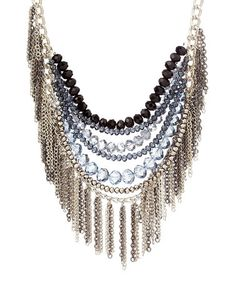 Take a look at this Silver Beaded Fringe Chain Bib Necklace by Sparkling Sage on #zulily today!