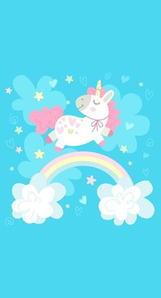 Unicorn, rainbow, and wallpaper image Unicorn Art, Cute Unicorn, Rainbow Unicorn, Unicornios Wallpaper, Pattern Wallpaper, Art Mignon, Unicorn Illustration, Unicorn Pictures, Poster