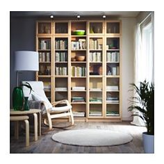 IKEA - BILLY / OXBERG, Bookcase, birch veneer, 200x237x28 cm, , Adjustable shelves, so you can customize your storage as needed.Surface made from natural wood veneer.Narrow shelves help you use small wall spaces effectively by accommodating small items in a minimum of space.Adjustable hinges allow you to adjust the door horizontally and vertically.Glass-door cabinet keeps your favorite items free from dust but still visible.