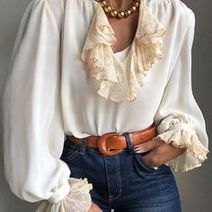 Elegant V-neck Stitching Ruffled Apricot Blouse – shegenie Collars For Women, Types Of Collars, Collar Designs, Kazakhstan, High Collar, Casual Tops, Types Of Sleeves, Autumn Fashion, Stitching