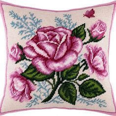 Diy canvas 553168766704792848 - Lush rose pillowcase cross-stitch DIY embroidery kit needlework Source by rivierimnida Diy Embroidery Kit, Embroidery Supplies, Learn Embroidery, Hand Embroidery Patterns, Ribbon Embroidery, Cross Stitch Embroidery, Embroidery Needles, Diy Bordados, Brazilian Embroidery Stitches