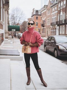Sweater Shop, Pink Sweater, Over The Knee Boot Outfit, Brown Boots, I Dress, Winter Outfits, Veronica, Colours, My Style