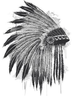 Love this for a shoulder tattoo Tribal Feather Tattoos, Indian Skull Tattoos, Fox Tattoos, Mini Tattoos, Indian Hat, Indian Feathers, Feather Hat, Shoulder Tattoo, Tattoo Drawings