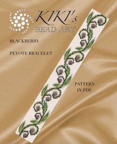 Pattern, peyote bracelet - Blackberry patterned peyote bracelet cuff PDF instant download