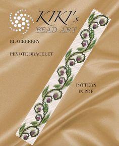 Pattern, peyote bracelet - Blackberry patterned peyote bracelet cuff PDF instant download