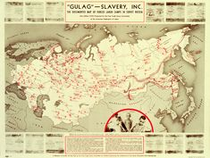 Map of Stalin's GULAG - Forced Labor Camps in Soviet Union, 1951.
