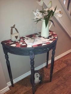 Annie Sloan Graphite Black Half Moon Table. Ebay