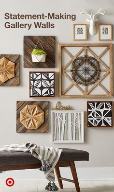 Create an eclectic wall design that's made up of warm tones, neutral hues and distinctive wood designs with the Neutral Warm Tone Gallery Wall Decor Collection. Adding interest to any space with texture and mod flair. Diy Wand, Hm Deco, Mur Diy, Living Room Decor, Bedroom Decor, Master Bedroom, Bedroom Wall, Glam Bedroom, Decor Room