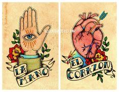 Arte del tatuaggio Old School stampe Loteria LA MANO & El CORAZON 5 x 7, 8 x 10 o 11 x 14 Set di illustratedink su Etsy https://www.etsy.com/it/listing/60931540/arte-del-tatuaggio-old-school-stampe