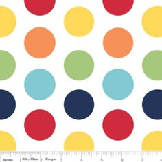 Riley Blake Designs - Dots - Large Dots in Rainbow