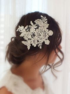 ▲ Wedding Headband ▲    Lace beaded bridal hair piece makes an elegant and vintage statement. Hand beaded using vintage beading techniques this