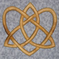 Trinity Love Knot -Heart-Shaped Celtic Wood Carving - Irish Love Knot Variation