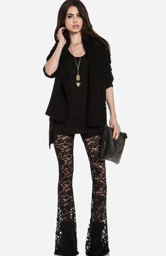 Tight lace hook flower hollow straight trousers