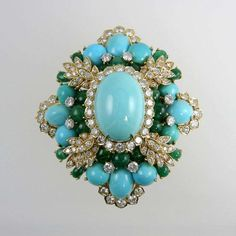 Amazing Turquoise Emerald and Diamond Brooch 2