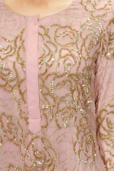 Pastel pink embroidered kurta with pants available only at Pernia's Pop Up Shop.