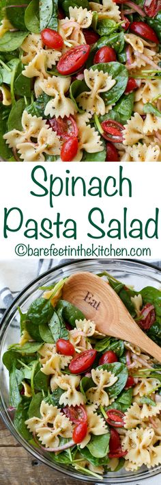 Spinach Pasta Salad - get the recipe at barefeetinthekitchen.com Spinach Pasta Recipes, Meals With Spinach, Veggie Salads Recipes, Delicious Salad Recipes, Healthy Spinach Recipes, Salad Recipes Vegan, Summer Pasta Recipes, Pasta Recipies, Spinach Pasta Salads