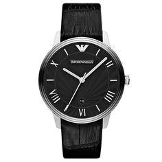 Emporio Armani Men's AR1611 'Classic' Black Leather Watch by Armani