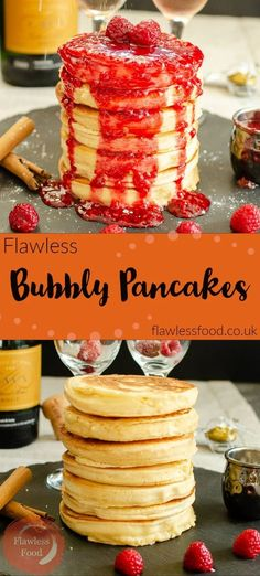 These easy homemade Bubbly Pancake recipes are the best! We show you how to make them thick, fluffy, light and airy! The added Champagne helps give it some extra bubbles, making the perfect breakfast or dessert for two. We used Raspberry sauce for a topping, other ideas could be strawberry, Nutella or cinnamon sugar. Pancake Toppings, Pancake Recipes, Brunch Recipes, Breakfast Recipes, Dessert Recipes, Breakfast Ideas, Breakfast Time, Baking Recipes, Easy Recipes
