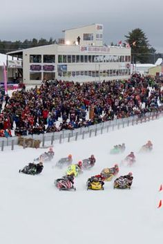 The Amsoil World Championship Snowmobile Derby blazes through the Derby Track each year.  Grab your seat this winter!