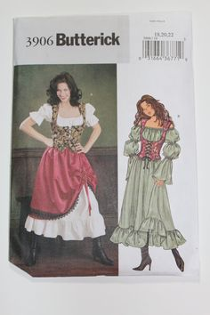 Women's Renaissance Historical Costume, Blouson Dress, Skirt, Fitted Lace Up Vest Sewing Pattern Plus Size 22 Uncut Butterick 3906 Wench Costume, Gypsy Costume, Corset Costumes, Pirate Costumes, Renaissance Costume, Medieval Costume, Renaissance Clothing, Renaissance Outfits, Renaissance Fair