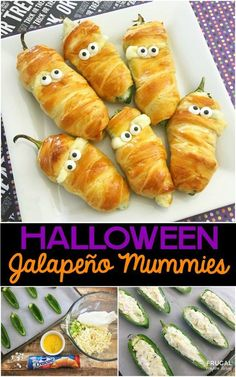 Jalapeño Popper Mummies - ein Halloween Food Craft - Halloween Decor and Reci. Hallowen Food , Jalapeño Popper Mummies - ein Halloween Food Craft - Halloween Decor and Reci. Halloween Food Crafts, Hallowen Food, Halloween Dinner, Halloween Goodies, Halloween Desserts, Halloween Treats, Halloween Potluck Ideas, Halloween Decorations, Halloween Appetizers For Adults
